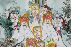 Helle Køster, Luciapiger med trompeter sølv baggrund