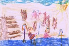 Børn der bader ved Bækskilde strand. Tegnet af Ella Sia 5 år. Oldebarn af Henning og Constance Henningsen fra Østre Skovgaard.