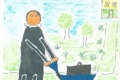 Pastor Blum med trillebør. Tegnet af Karla, barnebarn af Jette og Svend Helmer