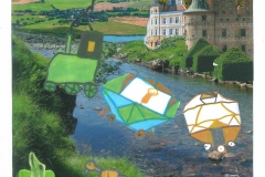 Collage af Helle. Toget i åen. Tegnet af Lasse. Oldebarn af Lis og Karl Petersen