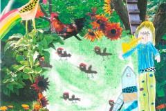 Alfeline og Hane/Høns. Tegnet af Caroline Barnebarn af Mimi og Poul Jespersen, og Clara Oldebarn Frigge og Erling Køster