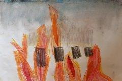 Præstegården brænder. Tegnet af Clara. Oldebarn af Frigge og Erling Køster